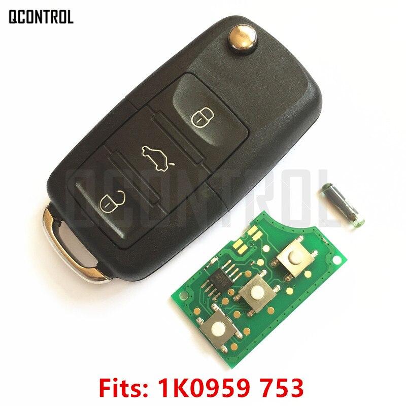 QCONTROL coche clave DIY para VW/VOLKSWAGEN CADDY/EOS/GOLF/JETTA/SIROCCO/TIGUAN/TOURAN 1K0959753/5FA008749-10 con ID48 Chip