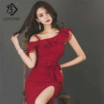 2019 New Summer Womens Wine Red One-Shoulder High Waist Split Sleeveless Ruffles Dress Sexy Fashion Elegant Dresses Hot D93505X