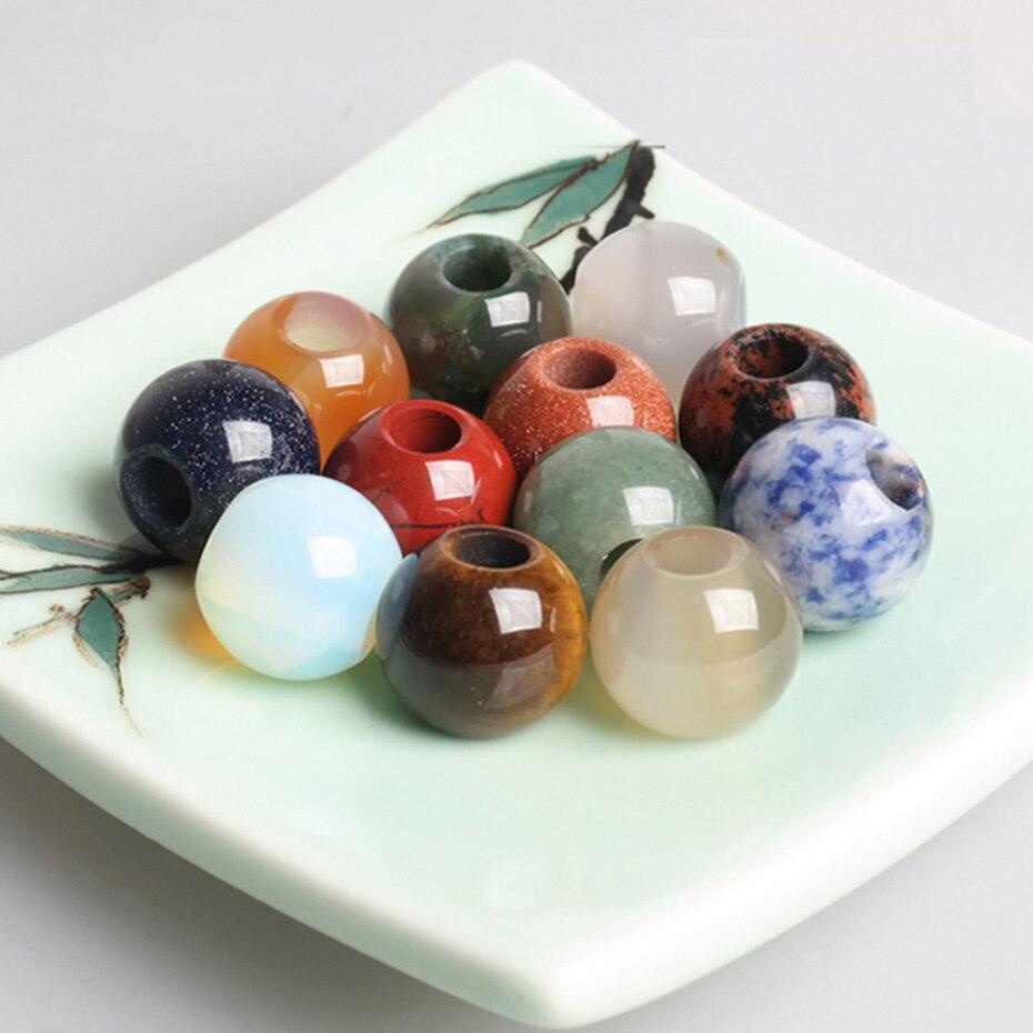 10PCS/bag Natural stone Hair Beads Loose Dreadlock Beads Hair Beads for braids Jewelry Making Supplies dreadlock accessories