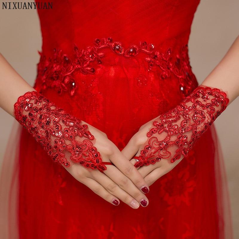 Elegáns gyöngyös csipke szatén rövid menyasszonyi kesztyű, - Esküvői tartozékok - Fénykép 5