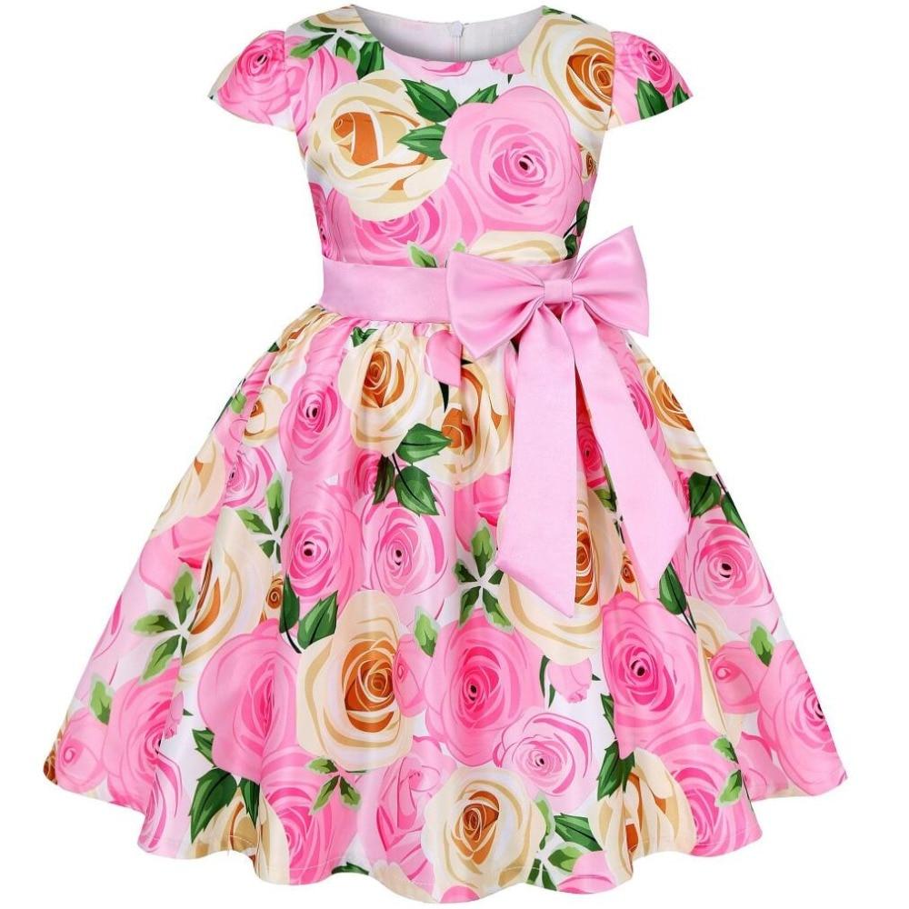 Vestidos de fiesta de cumpleaños de princesa con estampado de rosas de verano para niñas vestidos de satén para niñas 3 4 5 6 7 8 años