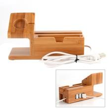 Besegad support de chargement en bambou chargeur Station Dock titulaire w/3 USB Hub Port câble pour iWatch iPhone 8X7 6 6s Plus Apple Watch