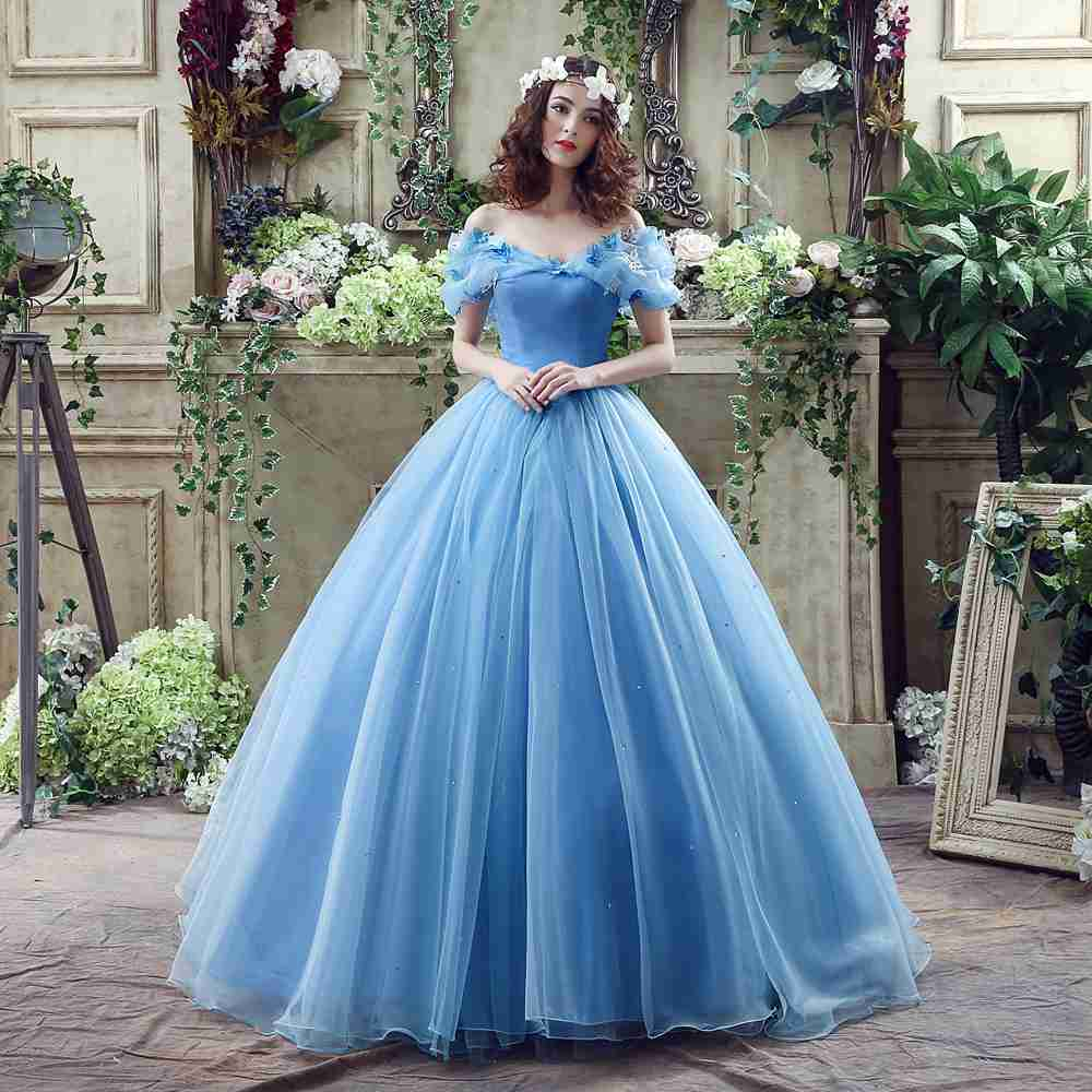 Beads Lace-up A-Line Dress 15 Off the Shoulder Court Train Ball Gown Backless Blue Vestidos Handmade Butterfly Evening Dress