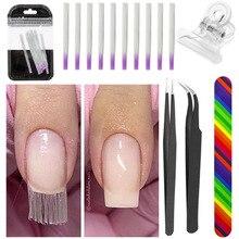 Nail art Sets Nagel Verlängerung Formular Nail Datei Pinzette für Gebäude Fibernails Acryl UV Salon Fiberglas für Extension Tool Kit