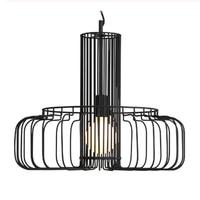 Modern minimalist striped black iron paint single head chandelier art cage LED restaurant lighting decoration 1.8m wire adjust