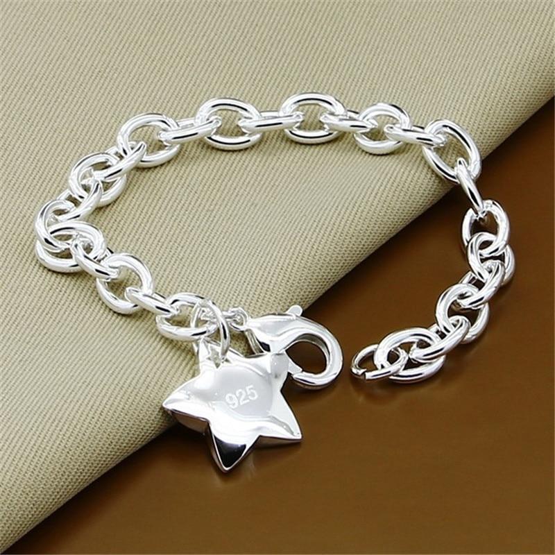 Klassische Schmuck 925 Sterling Silber Sterne Charme Armband für Frauen Männer Silber Link Kette Armband