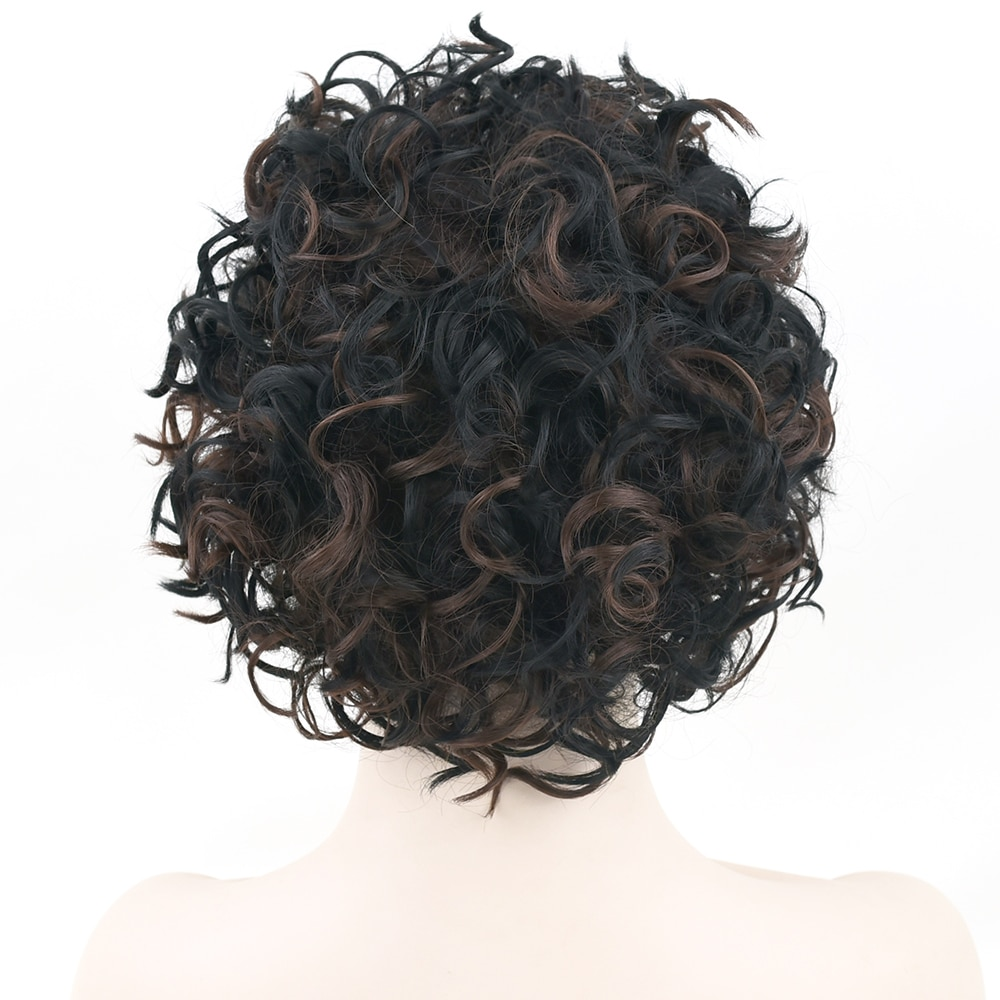 Soowee Curly Black Mix Brown Short Cosplay Wig Hairstyle False Hair Synthetic Afro Wigs for Men and Women