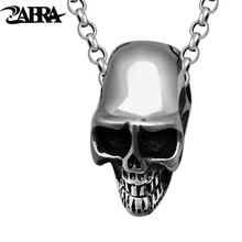 ZABRA Genuine 925 Silver Skull Pendant Men Punk Rock Vintage Necklaces Pendants Skeleton Biker Gothic Sterling Silver Jewelry