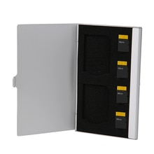 Argent 6 fentes porte-cartes mémoire monocouche aluminium 2 SD + 4TF Micro SD cartes Pin StorageBox protecteur de boîtier