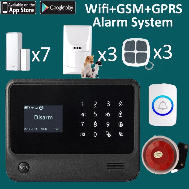 Señal gsm estable y wifi APP sistema de timbre de puerta de mensaje y alarma gsm sistem G90B