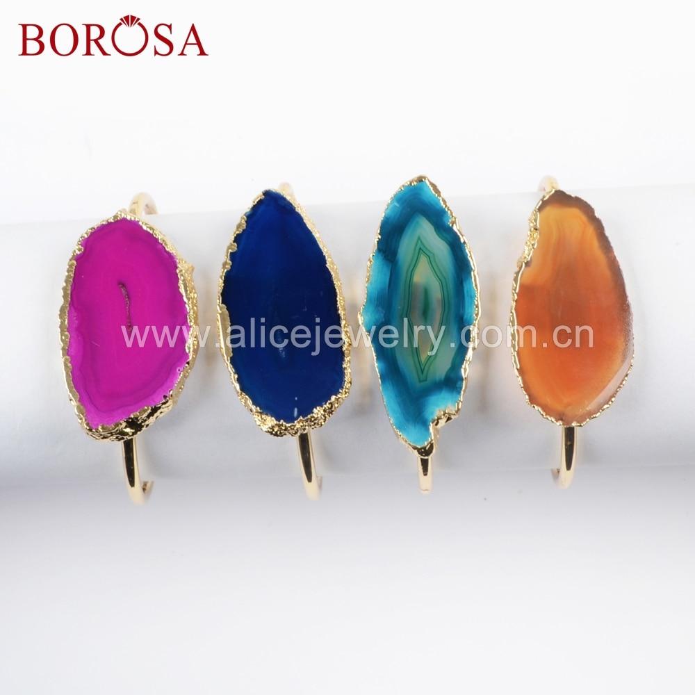 BOROSA 5/10 PCS Liberdade Cor Ouro Fatia Ágatas Pedra Rainbow Pulseiras Cor Misturada Jóia Natural Pedra Pulseira para mulheres WX1053