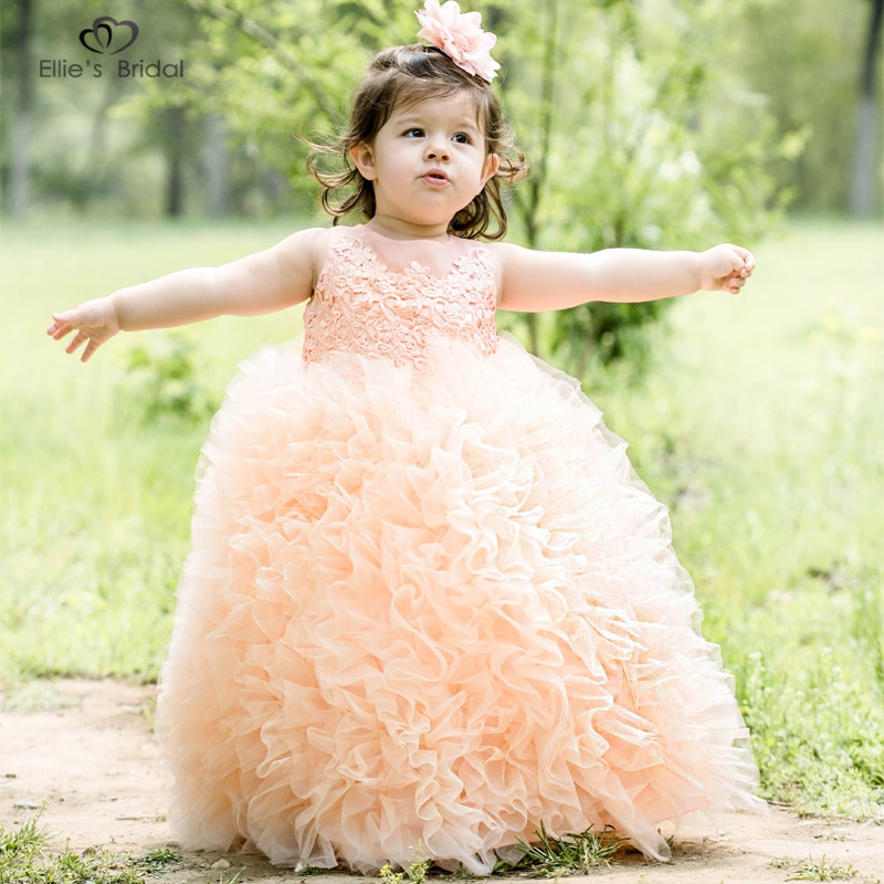Ellies, vestido de desfile de princesa para niñas, vestido de tul, volantes, tarde escalonada, fiesta, vestidos de baile para niños, Lazo de cristal, Vestido de primera comunión