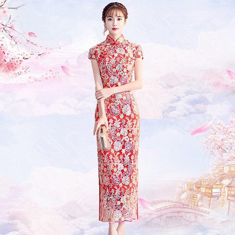 Vestidos de Noche Qipao para mujer, Vestido tradicional chino bordado, Vintage, Cheongsam, vestido moderno de encaje corto de novia para mujer