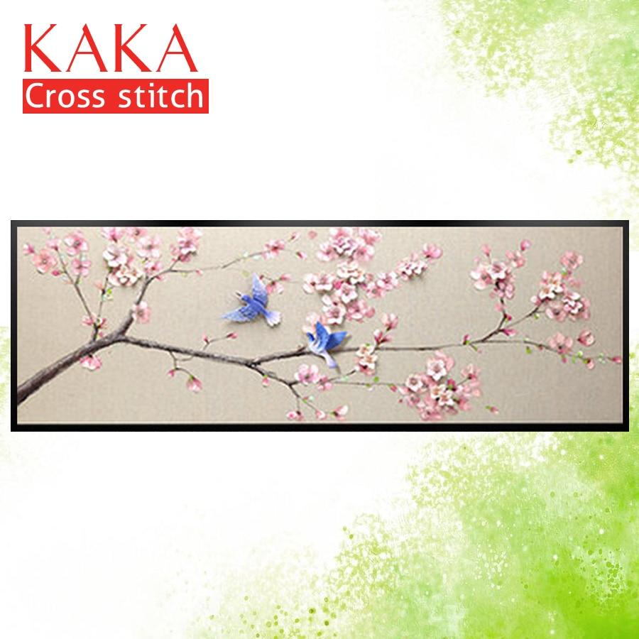 Kits de punto de cruz KAKA, flores de ciruela de Urraca 5D, juegos de costura bordada con patrón impreso, lienzo de 11 CT, pintura para decoración del hogar