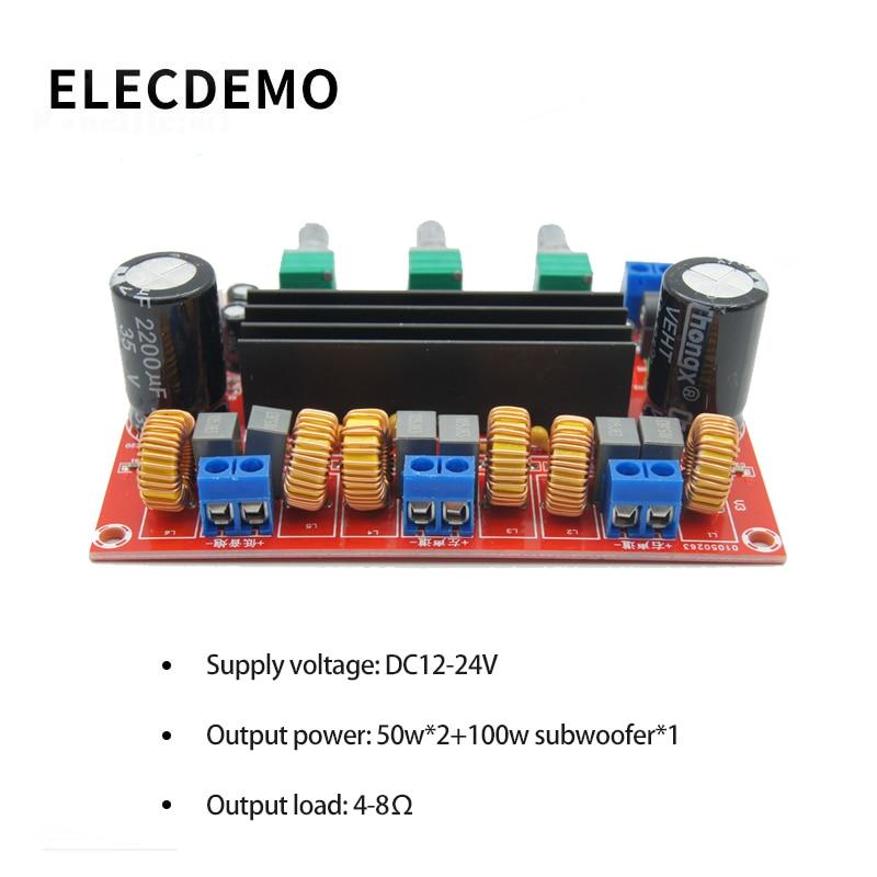 TPA3116D2 Module 2.1 channel digital power amplifier board 2*50W+100W high power power amplifier board module 12V24V fx138 2 x 50w tda7492 digital power audio amplifier circuit board blue silver