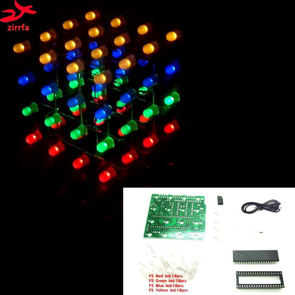 3D LED multicolor light cubeeds Electronic DIY Kit 4X4X4