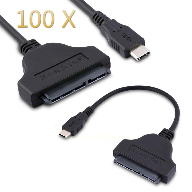 كابل محول USB 3.1 Type-C إلى SATA ، 22 دبوس ، محرك أقراص صلبة SSD ، 100 قطعة