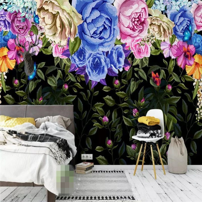 Hand-painted vintage color rose TV background wall professional manufacturing mural photo wallpaper professional 10x20ft hand painted column arch scenic muslin photo backdrop background customized service size photos
