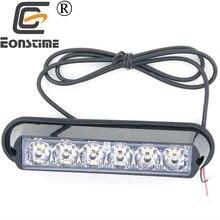 Eonstime 1 pcs 12 v-24 v 슈퍼 밝은 앞 범퍼 그릴 6 led 6 w 경고 스트로브 플래시 라이트 블랙베이스 레드 블루 앰버 화이트