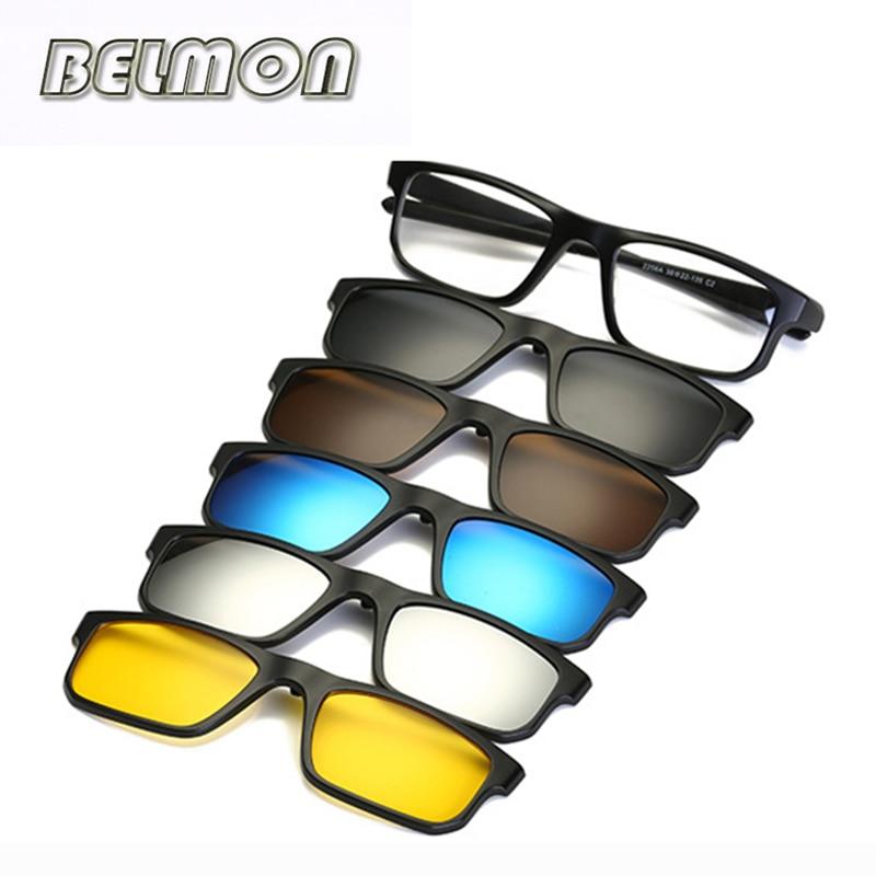 Модные оптические очки в оправе для мужчин и женщин, очки для близорукости с 5 клипсами, поляризованные солнцезащитные очки, магнитные очки для мужчин RS219