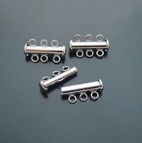 ¡Envío gratis! accesorios de joyería DIY 22*10mm material de cobre 3 filas cilíndricas collar pulsera botón plateado