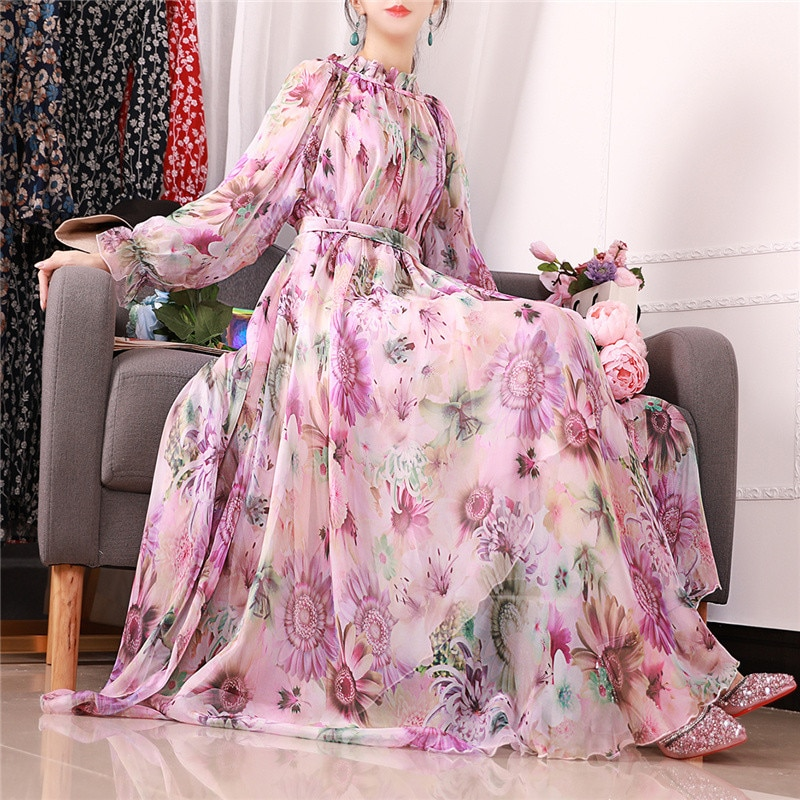 2019 spring new long-sleeved round neck dress floral chiffon large size women's print summer dress 2XL -5XL 585