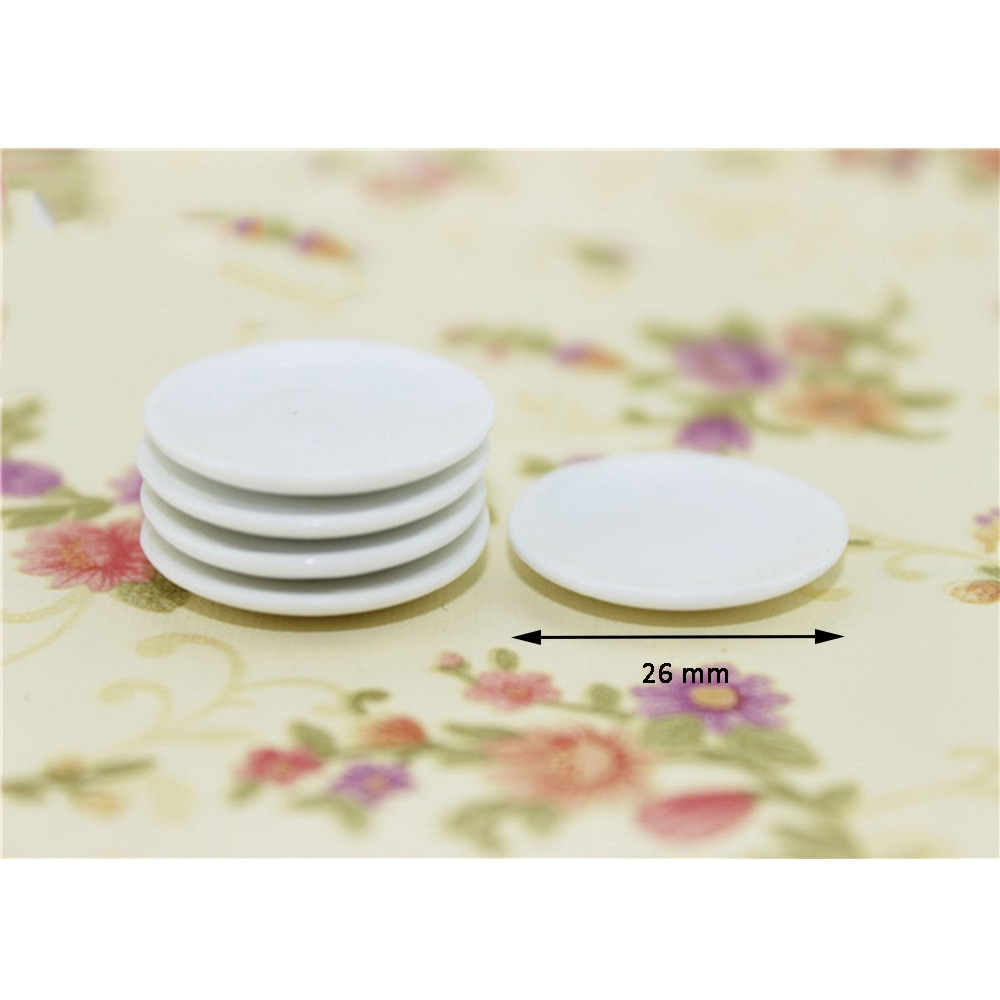 5Pcs 1/12 Dollhouse Miniature Accessories Mini Dessert Ceramic Plate Simulation Furniture Kitchen Dish Toys for Doll House Decor