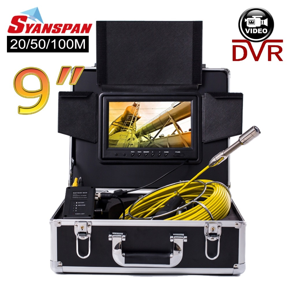 Review SYANSPAN 20/50/100M Pipe Inspection Video Camera, 8GB TF Card DVR IP68 Drain Sewer Pipeline Industrial Endoscope with 9″ Monitor