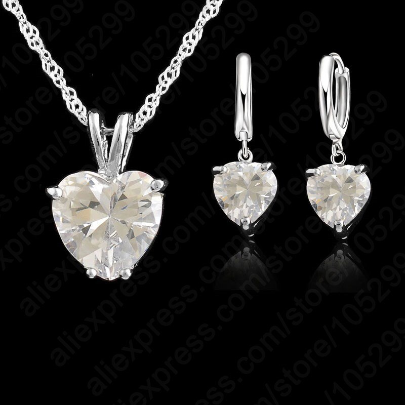 Top qualité 925 bijoux en argent Sterling ensembles collier boucle doreille ensemble grande pierre cubique zircone CZ coeur forme pendentif collier