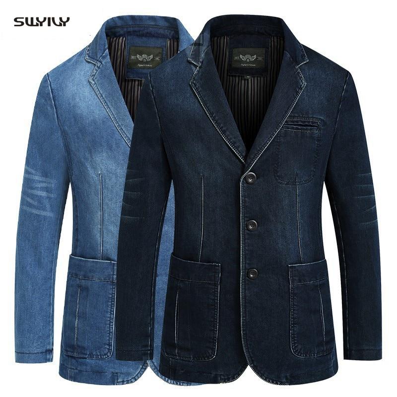 Terno Ocasional dos homens Jaqueta de Algodão Azul Denim Casaco Masculino Magro Roupas Casacos Moda Plus Size calças de Brim Dos Homens Denim Blazer blazers