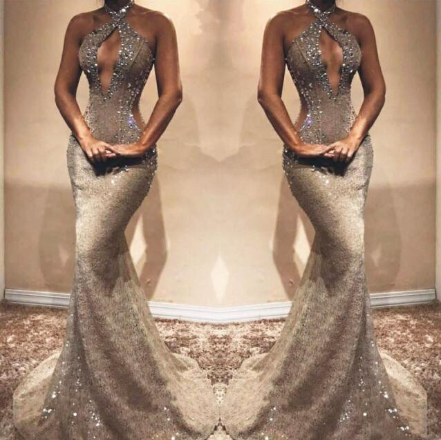 Gray Beaded Lace Mermaid Prom Dress Backless Sleeveless Prom Evening Party Wear for Sexy Graduation Dress 2019 robe de soiree