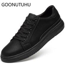 2019 new fashion men's shoes casual genuine leather man flats sneakers classic black shoe male platform shoes for men size 36-47
