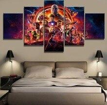 Affiche de film Avengers Infinity War 5 panneaux   Cadre, peintures décoratives modernes sur toile, Art pour décoration murale, décoration de maison, décoration murale