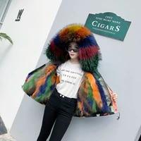 fashion wild womens short jacket fur coat scorpion hair liner to overcome raccoon fur collar