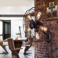 Loft retro restaurant wall lamp bedroom aisle American creative personality lamp iron industry wind turbine fan wall lampZCL