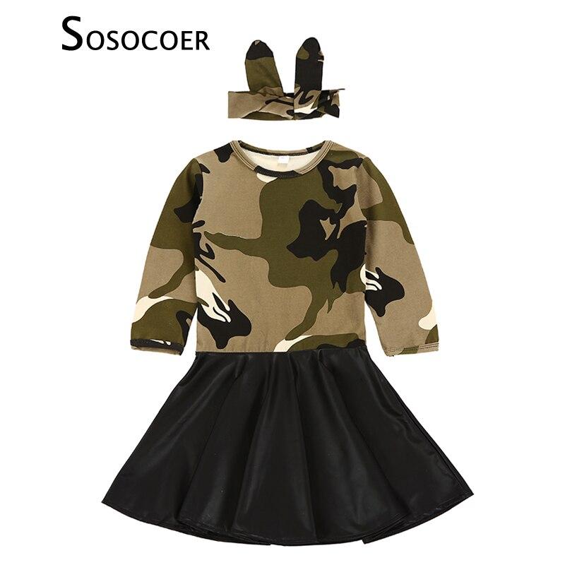 SOSOCOER, vestido para niñas, Otoño Invierno, nueva moda de camuflaje PU, costura de manga larga, vestidos para niños, diadema, Ropa para Niñas