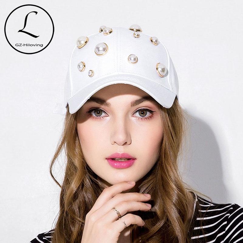 GZHILOVINGL Fashion Girl Pearl Cotton Baseball Cap Adjustable Spring Sprots Snapback Hats Hip Hop Cap Women Summer Sun Hat 2018