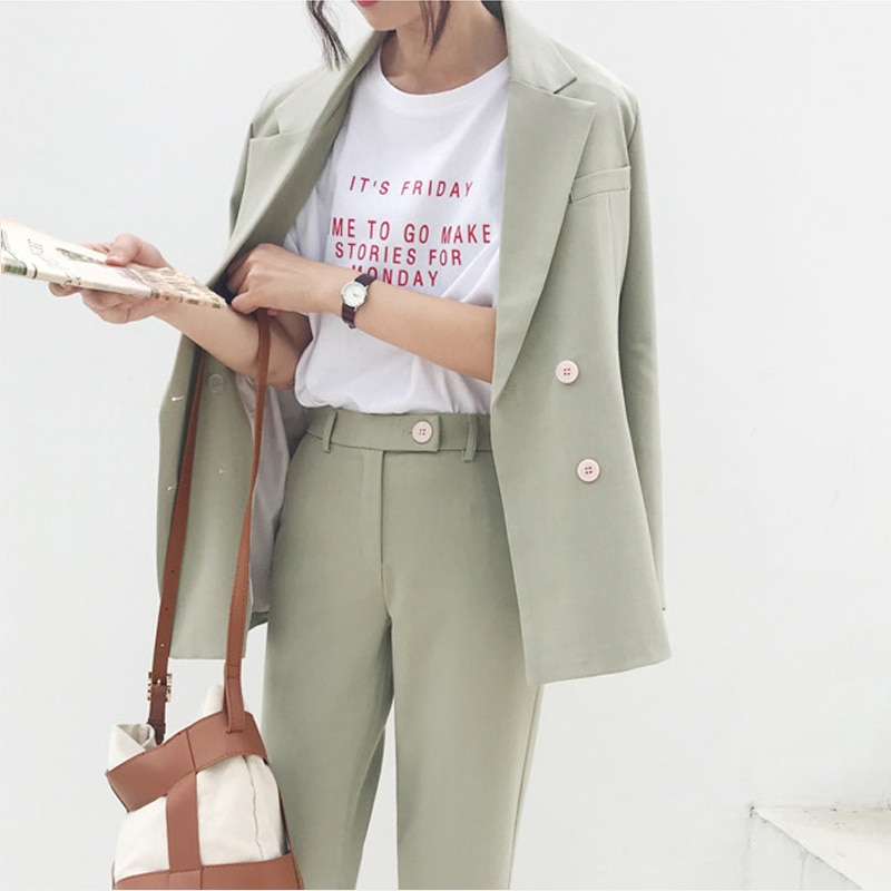 Vintage Autumn Winter Thicken Women Pant Suit Light Green Notched Blazer Jacket & Pant 2020 Office W