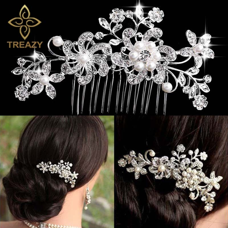 Flor para novia mariposa con diamantes de cristal perla Diamante mujeres Clip de pelo peine boda accesorios para el cabello