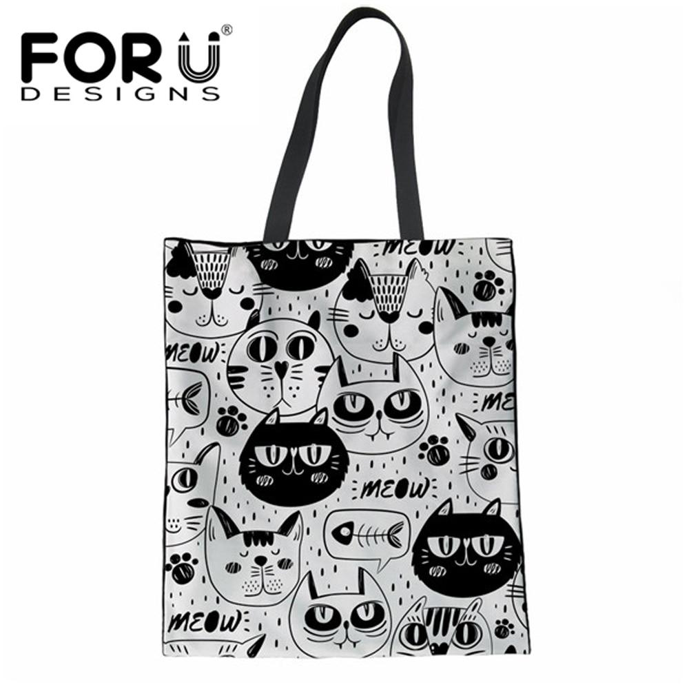 FORUDESIGNS, bolso para mujer con estampado de gato de dibujos animados, de lona, reutilizable, femenino, grande, de algodón, para compras