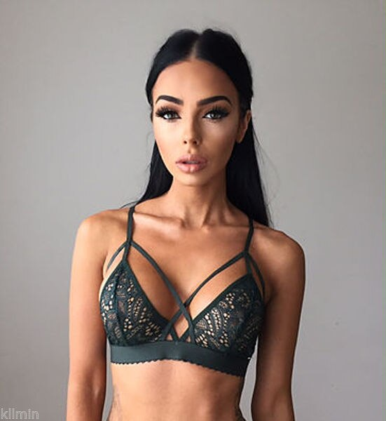 Mulheres Sexy Floral Lace Bra Bustier Top curto Sheer Malha Suave Triângulo Unpadded Bralette Sutiã