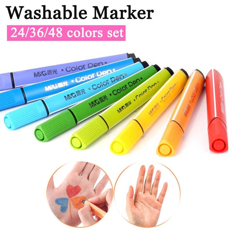 Rotulador de acuarela lavable, conjunto de 24/36/48 colores, no tóxico para niños, guardería, escuela, estudiantes, marcadores de arte, dibujo artístico