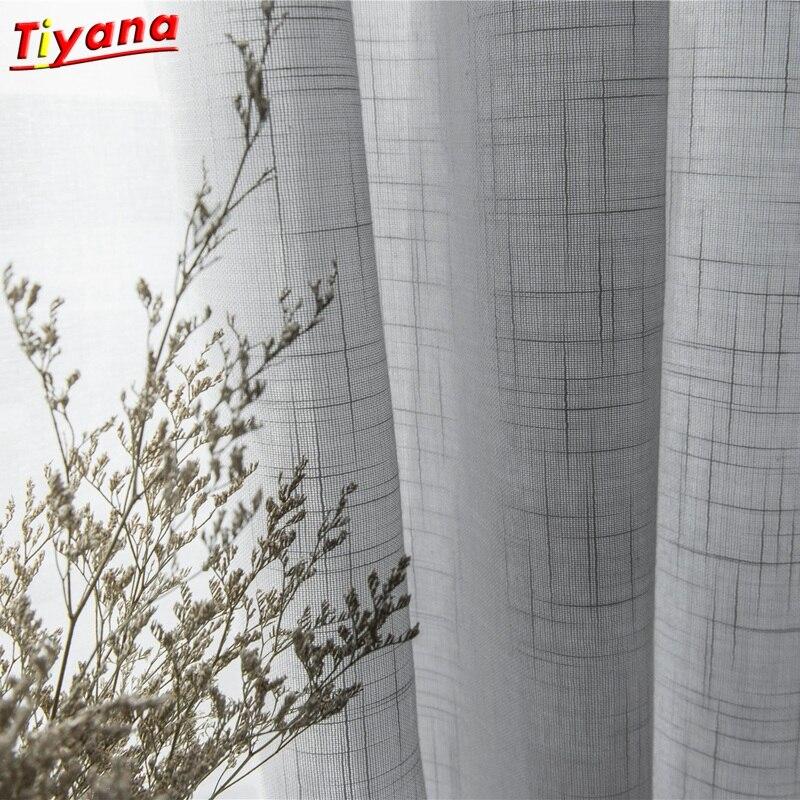 Cortinas de tul de lino y algodón gris modernas para la puerta de la cocina, tratamientos de ventana transparente, tul blanco sólido para la sala de estar S053 * 40