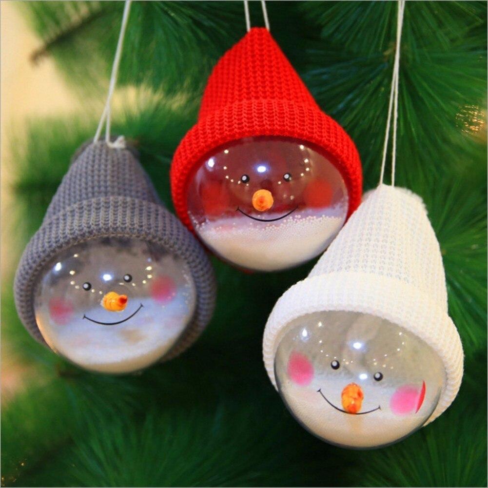 1Pc Transparent Plastic Christmas Snowman Ball Pendants Hanging Ball Baubles Christmas Tree Ornaments Home Decoration 3 Colors