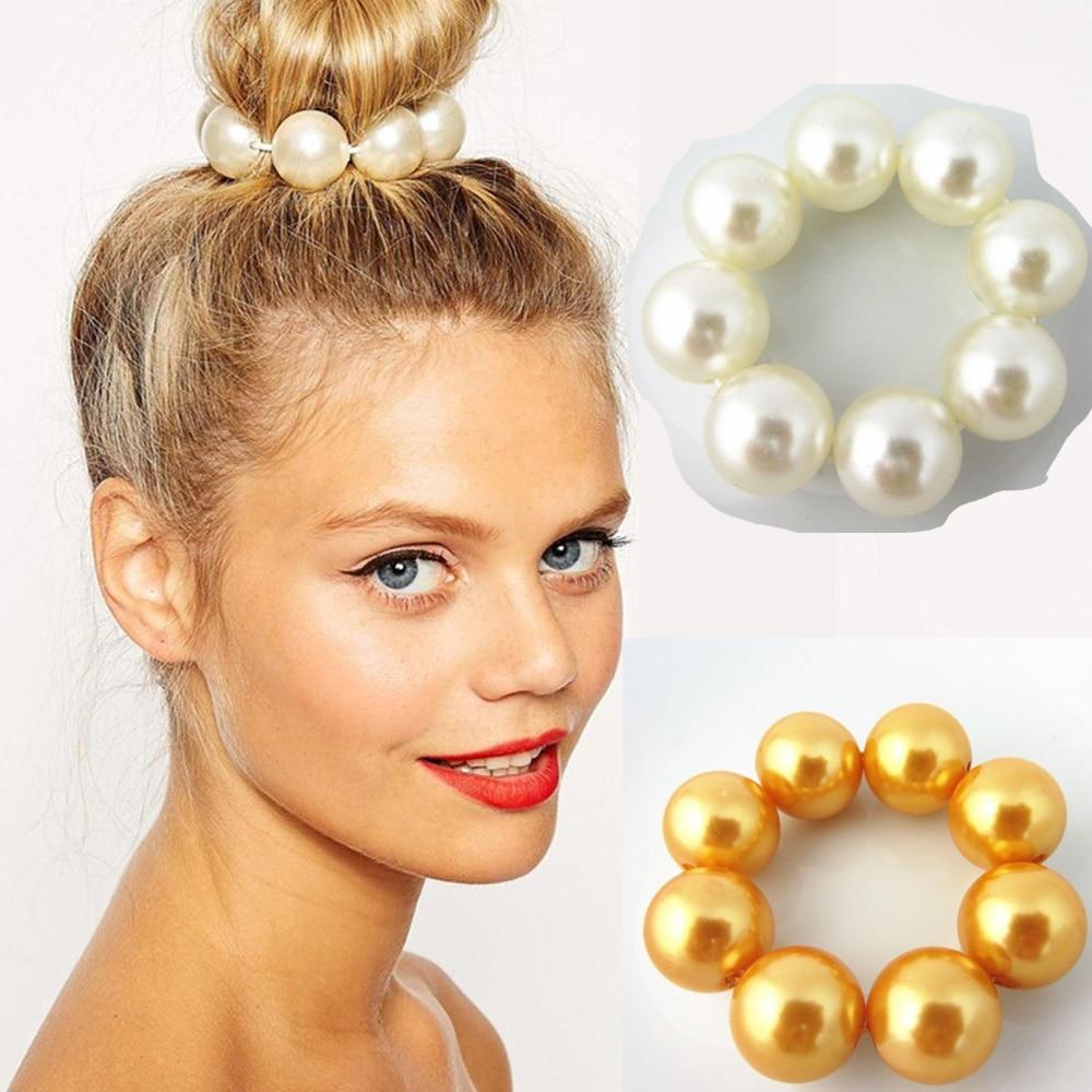 Women Lady Big Pearl Hair Rope Holder Korea Jewelry Hair Accessories  Hairbands for Women Bun maker Ties metal Twist Braider