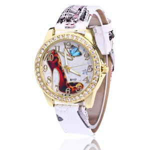 Hot Sales  High-Heeled Shoes Leather Watches Women Ladies Casual Crystal Dress Quartz Wrist Watch Relojes Mujer B117