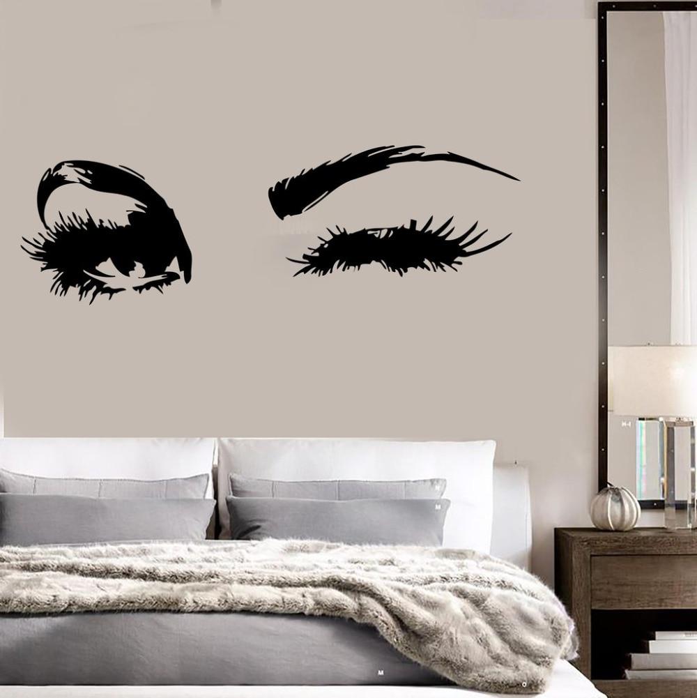 Большие ресницы для глаз, настенные наклейки, красивые глаза, обои, Декор, настенная живопись, Виниловые Наклейки для декора, спальни, SA145