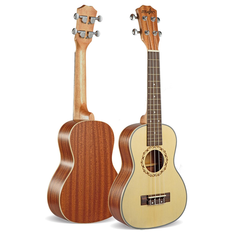 Ukelele Soprano de 21 pulgadas, 4 cuerdas, uku Ingman, abeto, guitarra acústica pequeña, Ukelele, concierto profesional uke