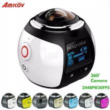 Amkov 4K 360 caméra panoramique Ultra HD Wifi 2448*2448 caméra daction étanche Sport conduite VR Sport caméra