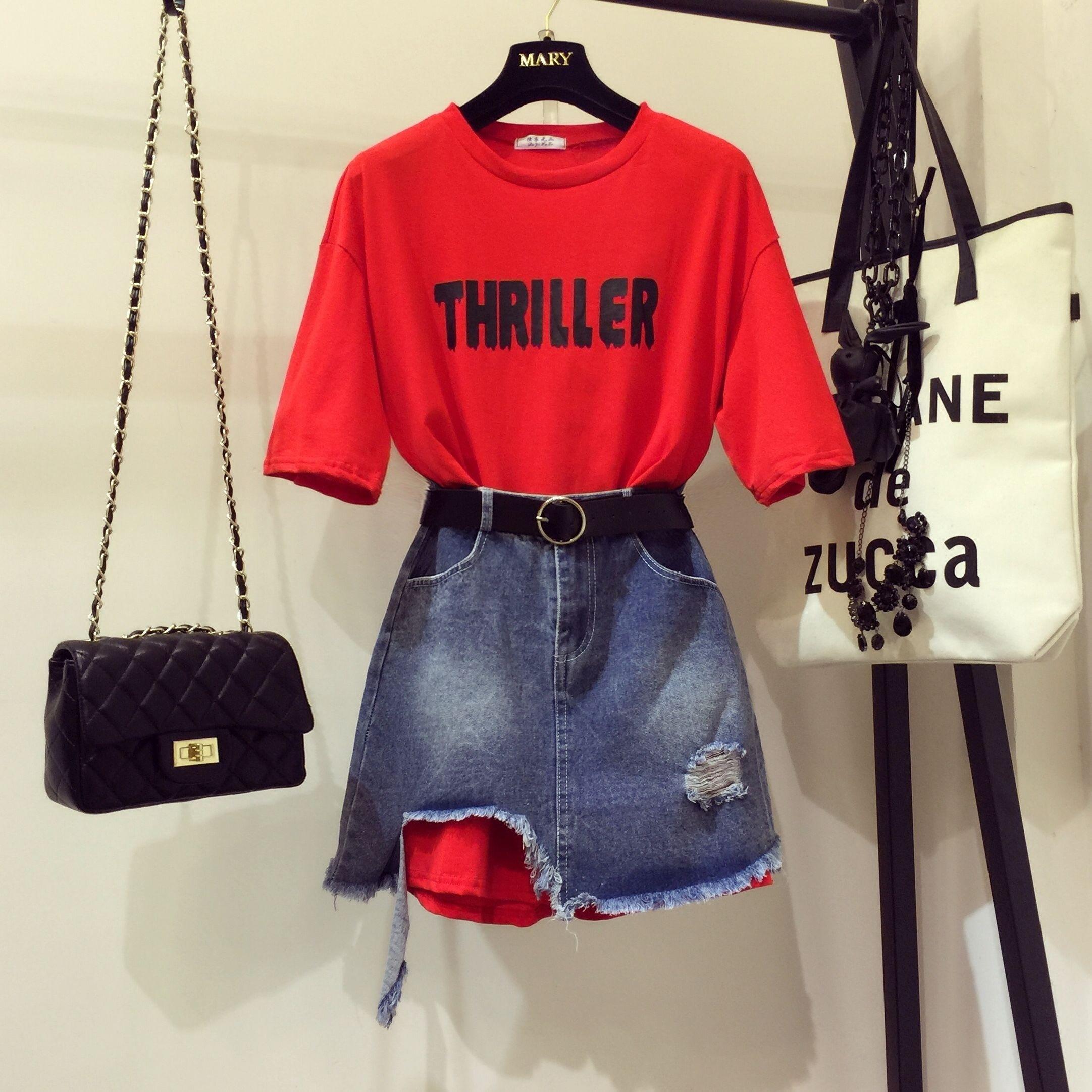 Moda de verano de 2019, Camisetas largas sueltas con estampado de letras para mujer y niña, Faldas vaqueras asimétricas con agujero, conjuntos de falda de vaqueros de estudiante Twinset